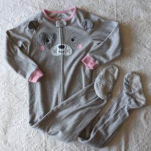 Fleece Bear Pajama Footed Onesie * 4T